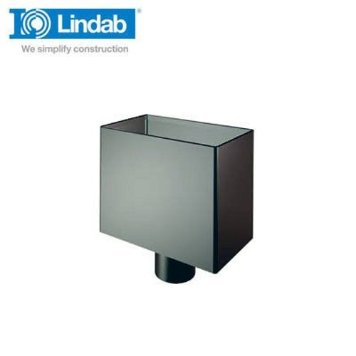 Lindab Small Rectangular Water Hopper 75mm Painted Black
