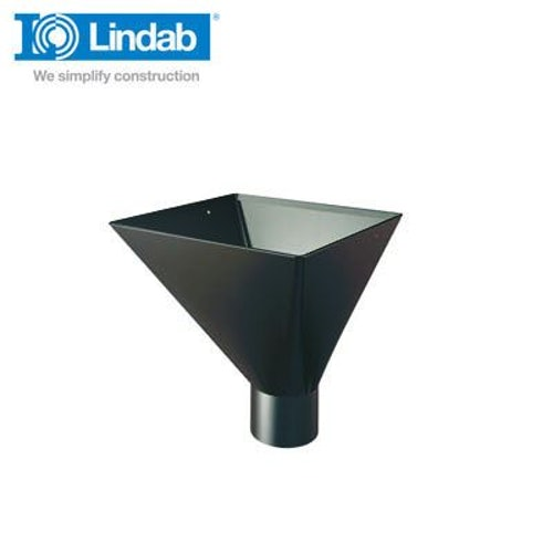Lindab Large Square Water Hopper 100mm Painted Black