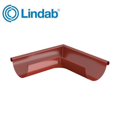 Lindab Half Round 90dg Outer Gutter Angle 100mm Painted Tile Red