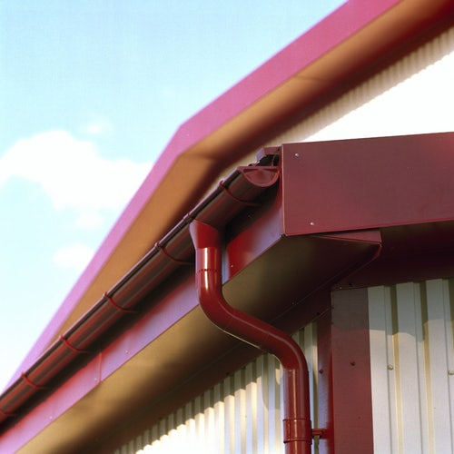Lindab Steel Half Round Guttering 100mm x 3m Painted Dark Red
