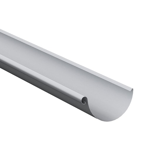 Lindab Steel Half Round Guttering 125mm x 3m Painted Silver Metallic