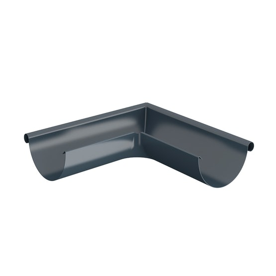 Video of Lindab Half Round 90dg Outer Gutter Angle 125mm Painted Dark Grey