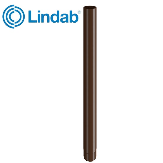Lindab Steel Guttering Round Downpipe 87mm x 3m Painted Brown