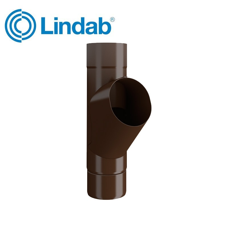 Video of Lindab Steel Guttering Round Adjustable Branch 100mm Painted Brown