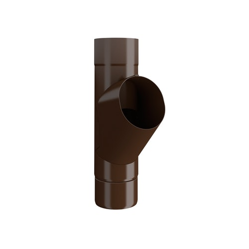 Lindab Steel Guttering Round Adjustable Branch 100mm Painted Brown
