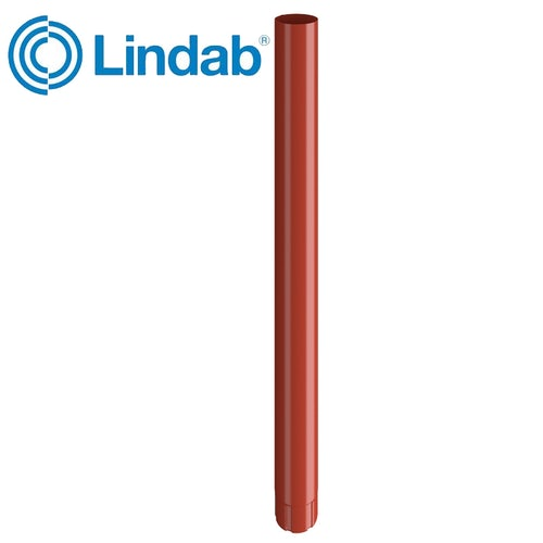 Lindab Steel Guttering Round Downpipe 100mm x 3m Painted Tile Red