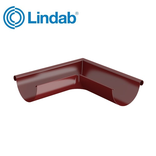 Lindab Half Round 90dg Outer Gutter Angle 190mm Painted Dark Red