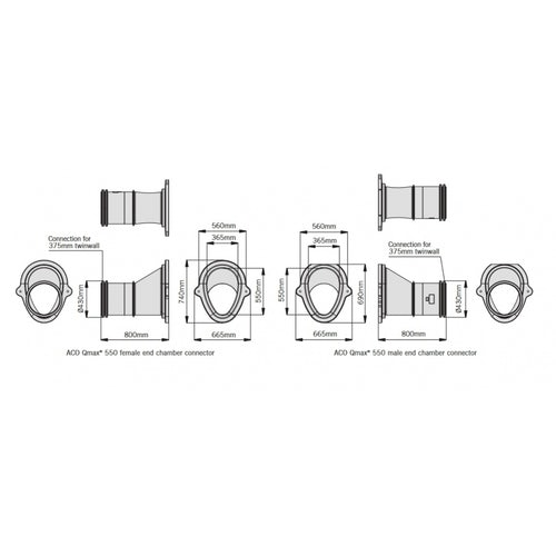 ACO Qmax 550 Chamber Connector Pair (Male and Female)