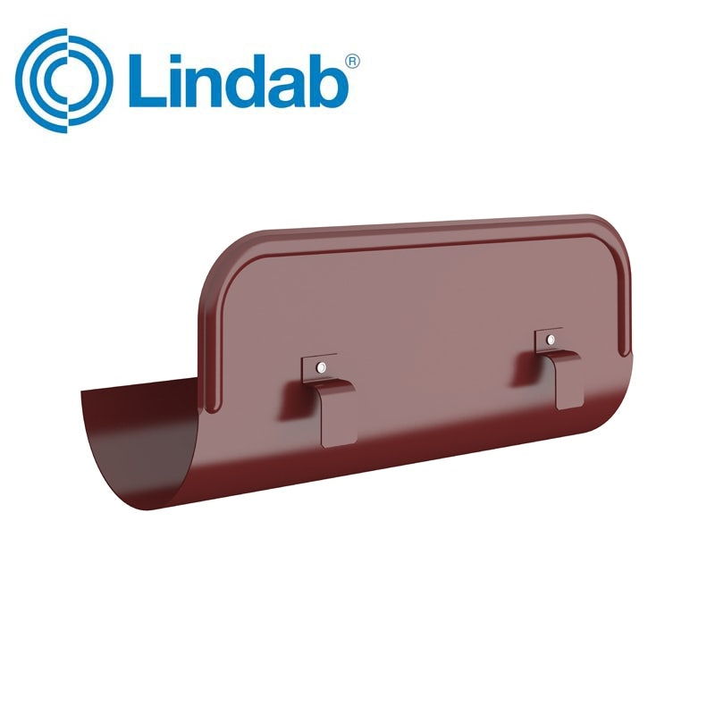 Video of Lindab Half Round Straight Steel Overflow Protector 125mm Painted Dark Red