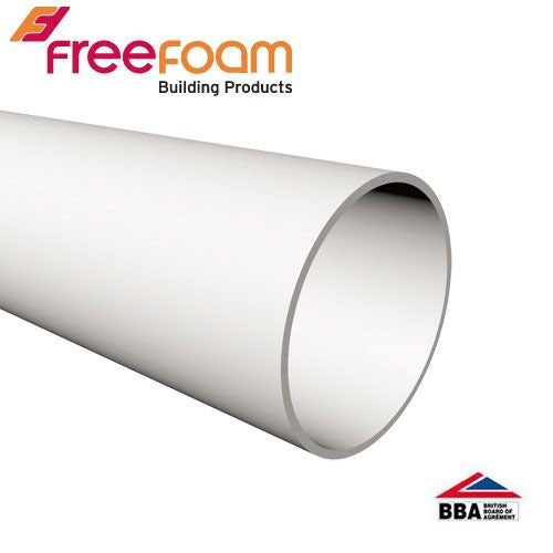 Freeflow Round Plastic Downpipe Length 5.5m White