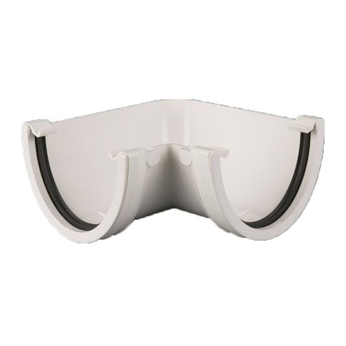 Plastic Guttering Deepstyle High Capacity 90 Degree Angle 115mm White