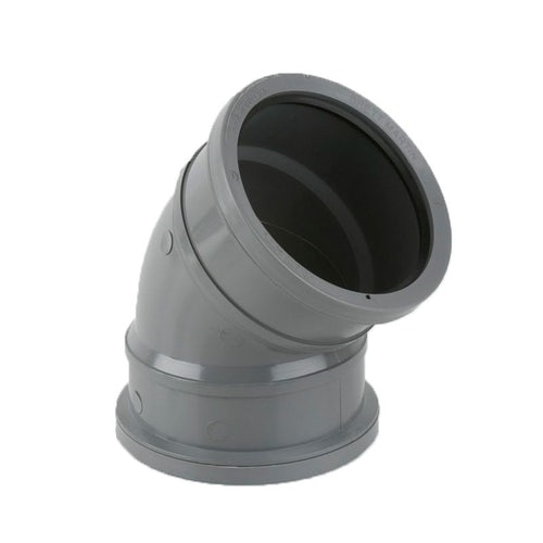 Guttering Industrial Downpipe 135dg Double Socket Bend 110mm - Grey