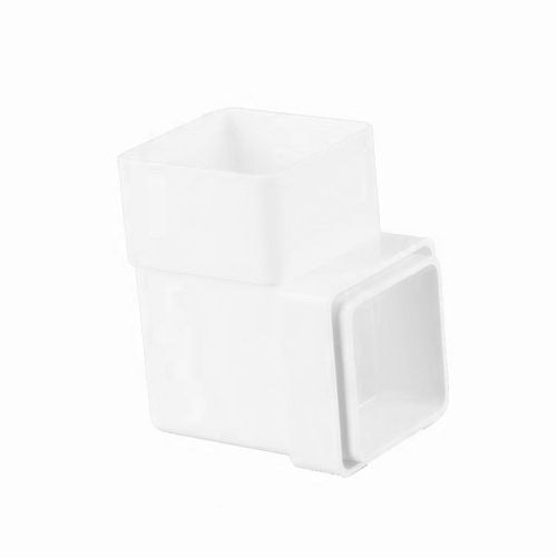 Plastic Guttering Square Downpipe 92.5 Degree Bend 65mm - Arctic White