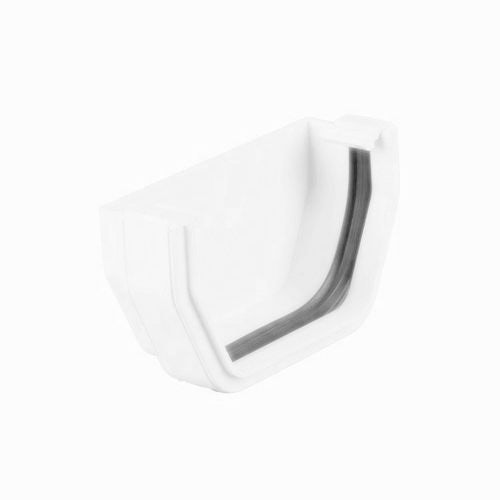 Plastic Guttering Square Style External Stopend 114mm - Arctic White