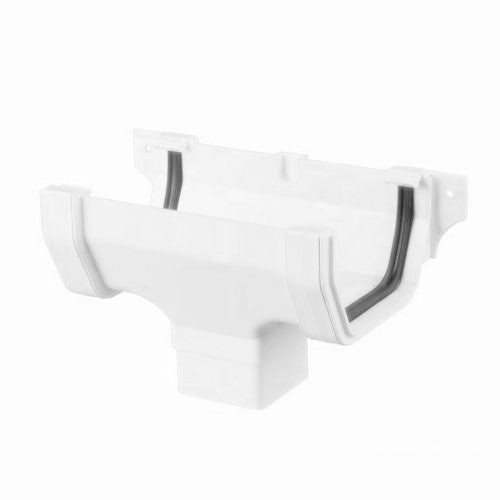 Plastic Guttering Square Style Running Outlet 114mm - Arctic White