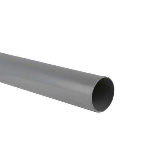 Soil Pipe Push Fit 3m Plain Ended Pipe 110mm - Grey