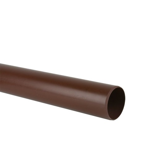Soil Pipe Push Fit 3m Plain Ended Pipe 110mm - Brown