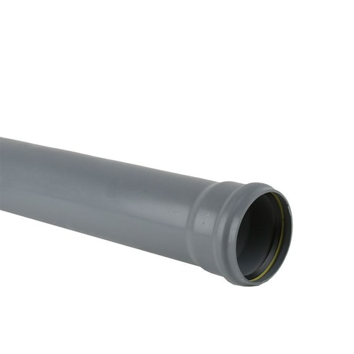 Soil Pipe Push Fit 6m Single Socket Ended Pipe 110mm - Grey