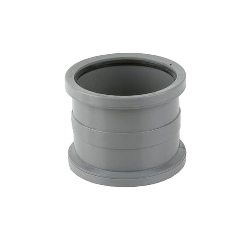 Soil Pipe Push Fit Double Socket Pipe Connector 160mm - Grey