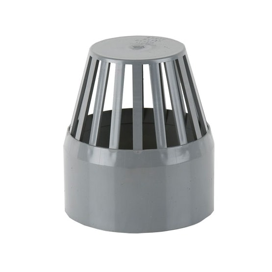 Soil Pipe Push Fit 160mm Vent Cowl - Grey