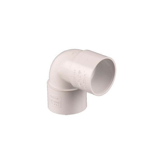 Waste Pipe Solvent Weld 90dg Knuckle Bend 50mm - White