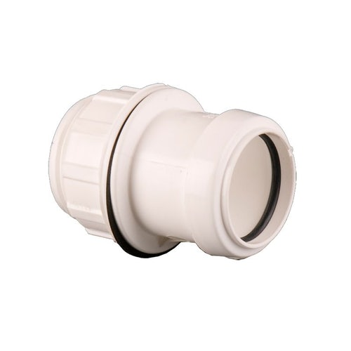 Waste Pipe Push Fit Straight Tank Connector 32mm - White