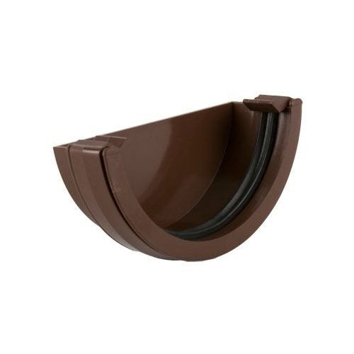 Plastic Guttering Half Round Style External Stopend 112mm - Brown