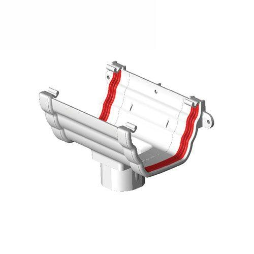Freeflow Ogee Style Plastic Guttering Running Outlet - White