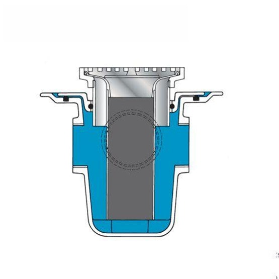 Aluminum Floor Drain Trapped Horizontal Spigot With Aux Inlets - 75mm