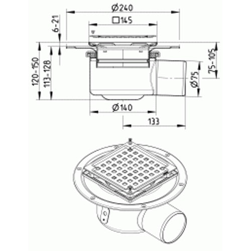 Shower Drain Adjustable Gully Stainless Steel 145 x 145mm - 110mm