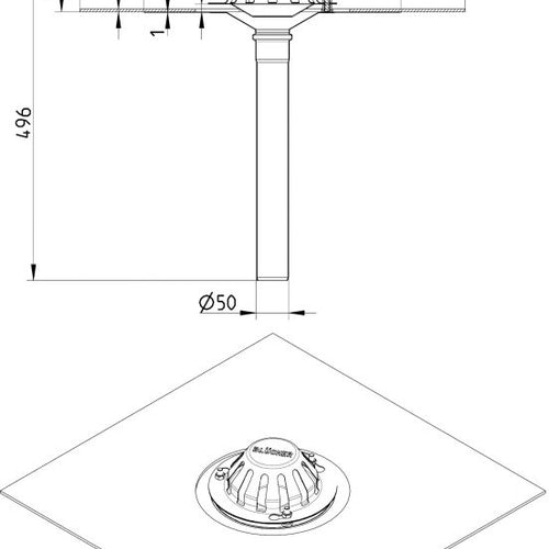 Roof Drain Vertical Outlet With Pre-mounted Bitumen Collar 50mm