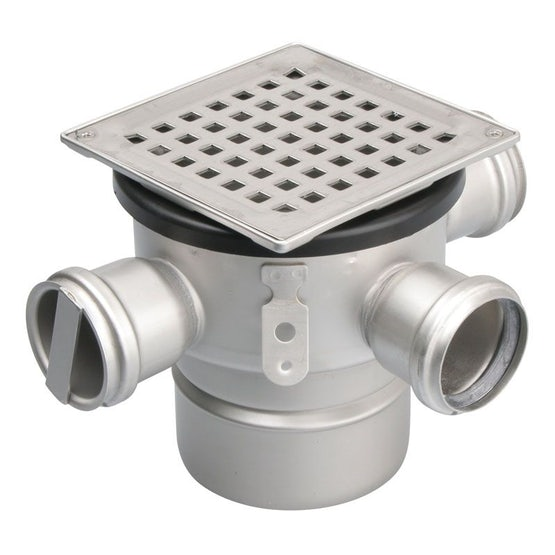 Shower Gully Square Adjustable Drain Stainless Steel 110mm