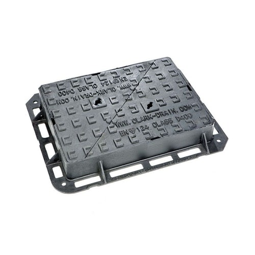 Manhole Cover and Frame 600L x 450W x 100H Cast Iron - D400 Class