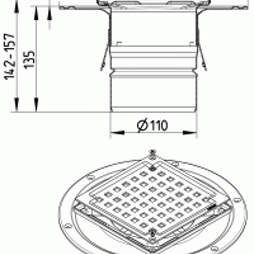 Shower Drain Adjustable Vertical Gully Stainless Steel 145x145mm-110mm