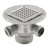 Shower Drain Adj Gully Stainless Steel 145 x 145mm 50mm Inlets - 110mm