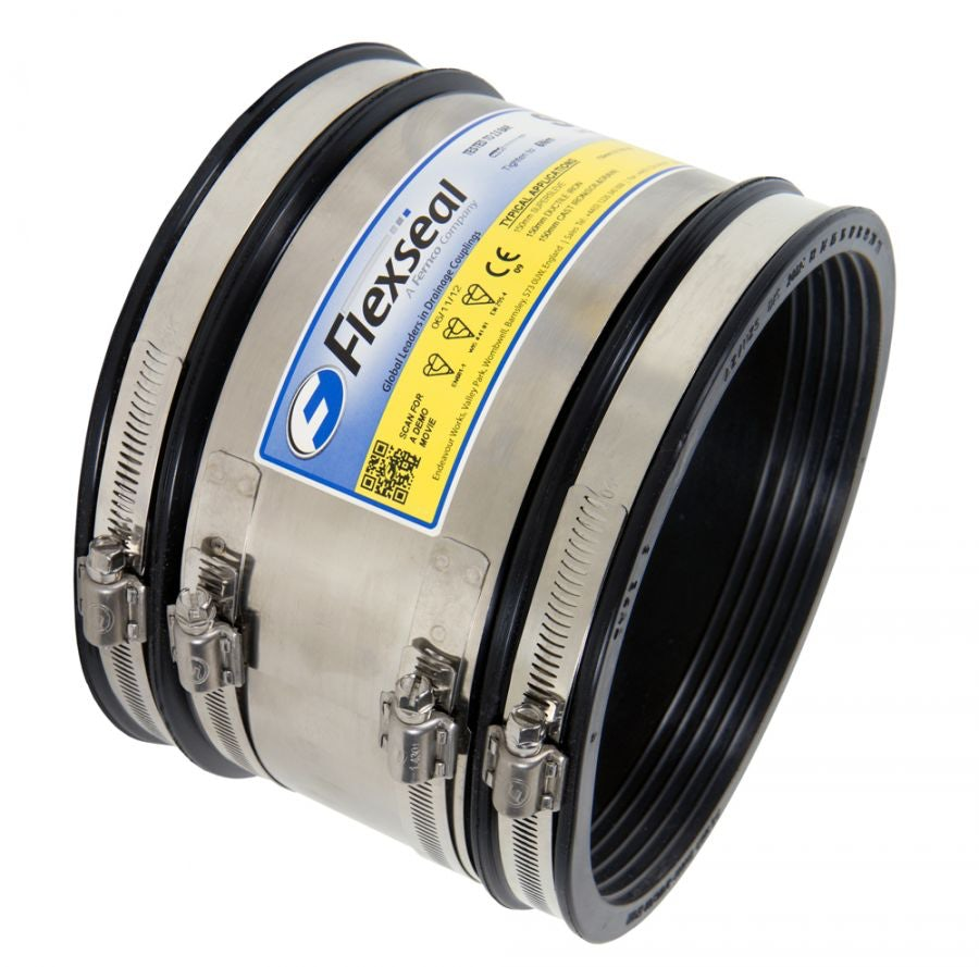 Video of Flexseal 370mm to 395mm Rubber Flexible Drainage Adaptor Coupling
