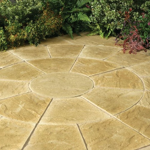 Kelkay Stone Circle Patio Kit Abby Paving 2.4m - York Gold