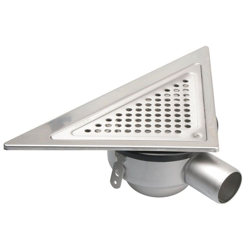 Video of Shower Drain Stainless Steel Triangular Back Wall Adjustable - 50mm