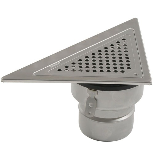 Shower Drain Triangular Back Wall Adjustable Stainless Steel - 110mm