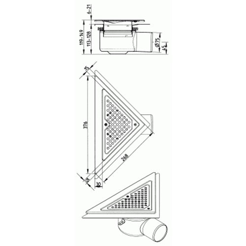 Shower Drain Triangular Back Wall Adjustable Stainless Steel - 75mm