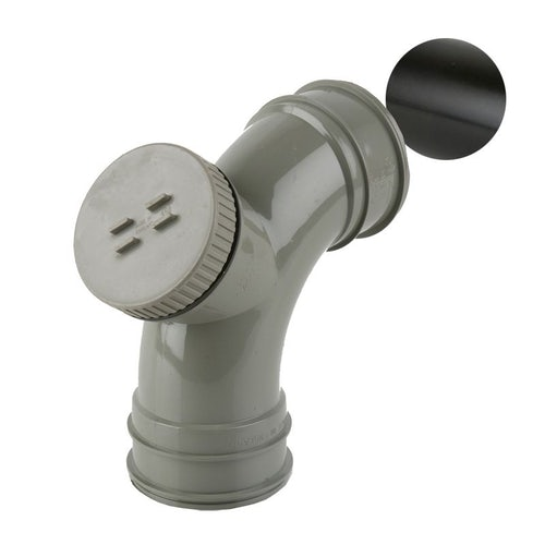 Soil Pipe Solvent Weld Double Socket Access Bend 82.4mm - Black