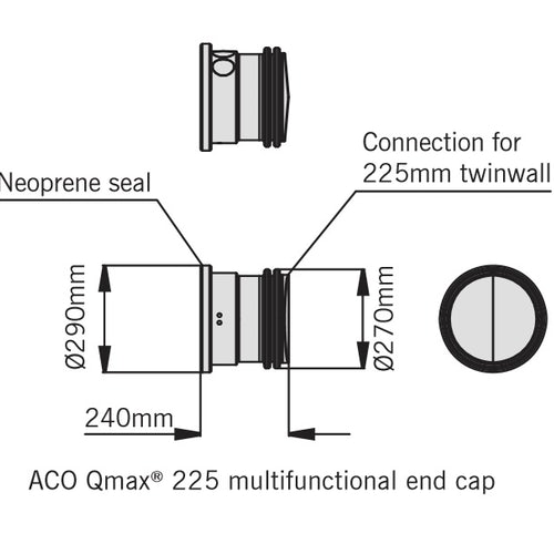 ACO Qmax 225 Slot Channel Multifunctional End Cap