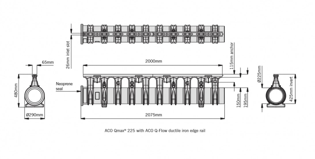 ACO Qmax 225 Slot Channel with Q-Flow Iron Edge Rail 2m