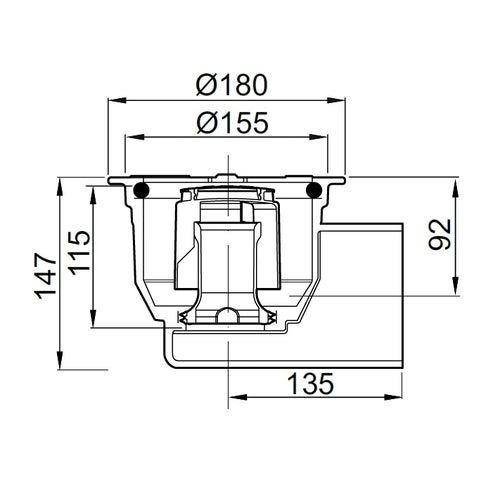 aco-totalflow-gully-horiz-outlet-cast-iron-180mm-dimensions