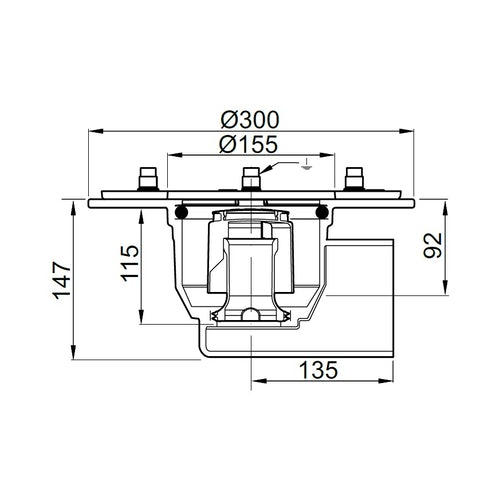 aco-totalflow-gully-horizontal-outlet-cast-iron-300mm-dimensions