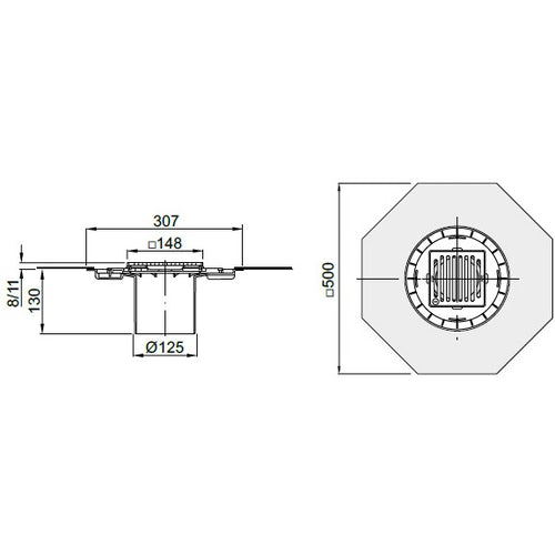 aco-totalflow-gully-top-stainless-steel-membrane-307mm-dimensions