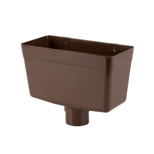 Plastic Guttering Round Style Downpipe Hopper Head 68mm - Brown