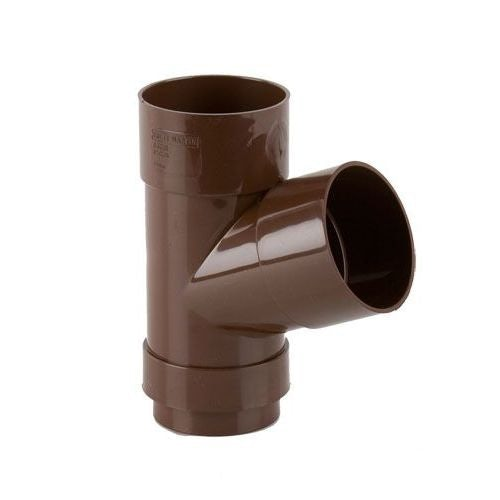 Plastic Guttering Round Style Downpipe 112.5 Degree Branch 68mm Brown