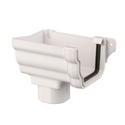Plastic Guttering Ogee Prostyle Stop End Outlet LH 106mm - White