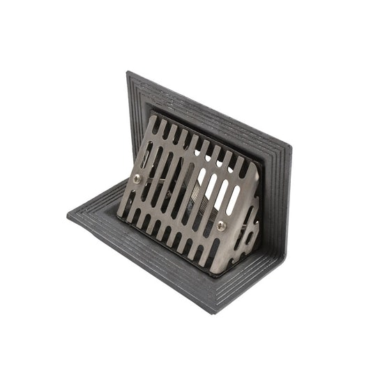 Cast Iron Rainwater Two-Way Outlet with Angled Grating